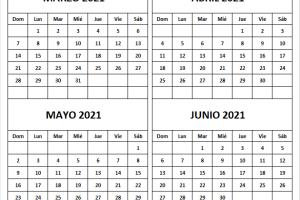 Calendario Marzo a Junio 2021 En Español