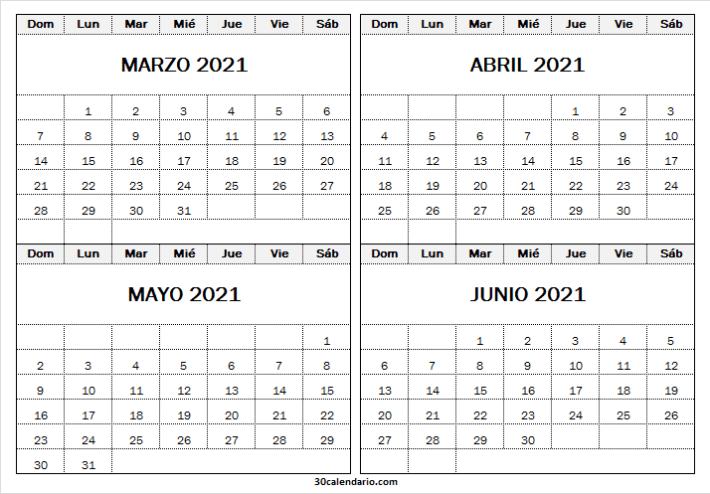 Calendario Marzo a Junio 2021 Infantil