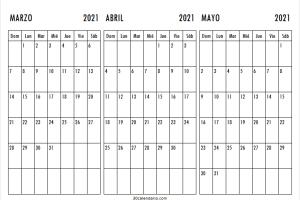 Calendario Marzo a Mayo 2021 Con Feriados
