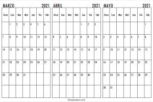 Calendario Marzo a Mayo 2021 Para Imprimir
