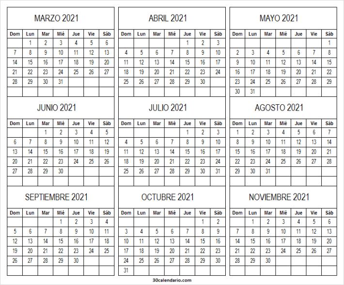 Calendario Marzo a Noviembre 2021 Blanco