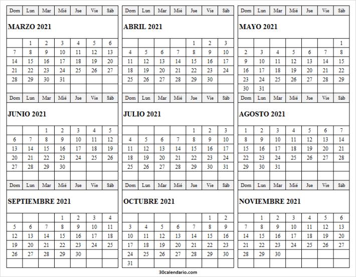 Calendario Marzo a Noviembre 2021 Bonito