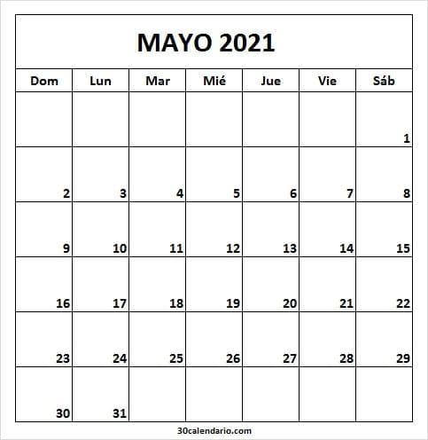 Calendario Mayo 2021 En Word