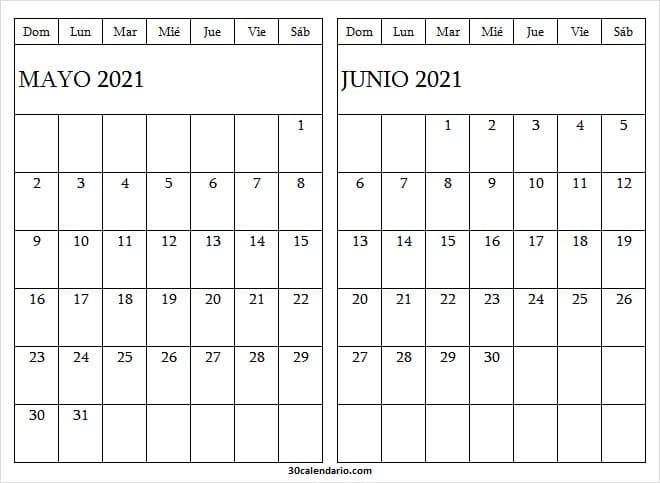 Calendario Mayo Junio 2021 Descargar