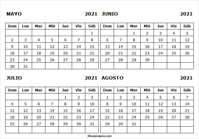Calendario Mayo a Agosto 2021