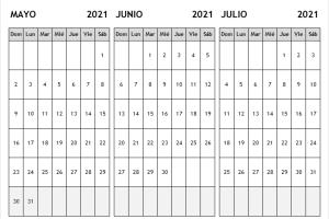 Calendario Mayo a Julio 2021 Excel