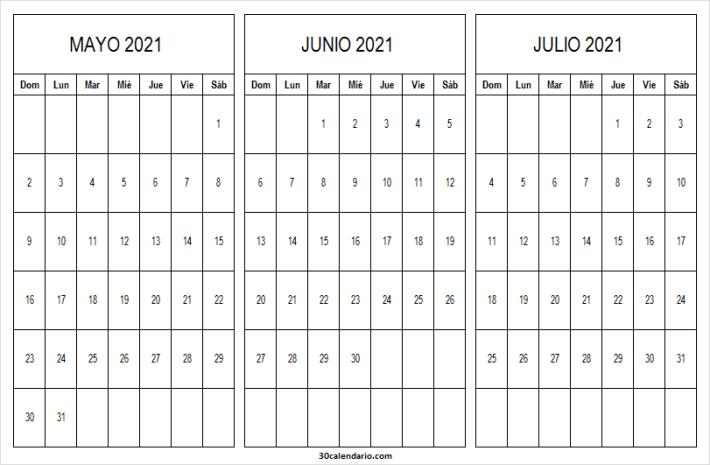Calendario Mayo a Julio 2021