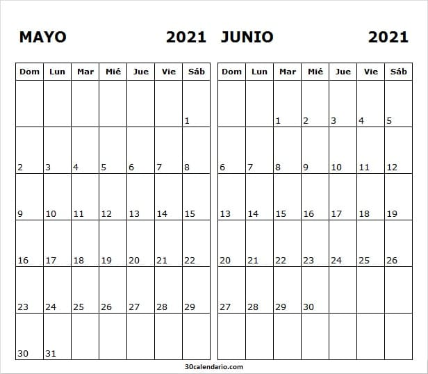 Calendario Mensual Mayo Junio 2021