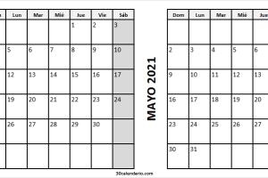Calendario Mes Abril Mayo 2021 Con Festivos