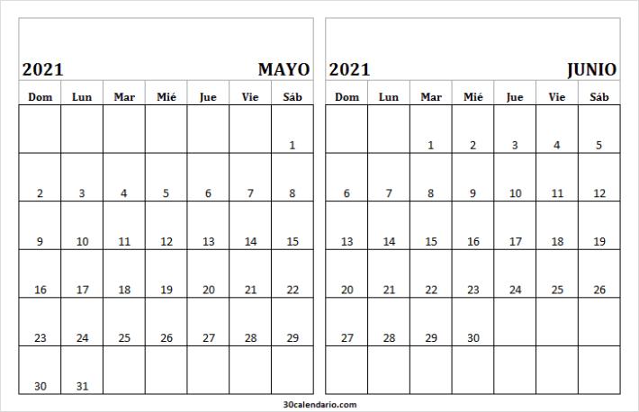 Calendario Para Rellenar Mayo Junio 2021