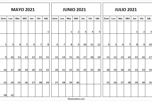 Calendario Para Rellenar Mayo a Julio 2021
