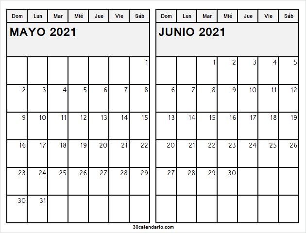 Calendario Semanal Mayo Junio 2021