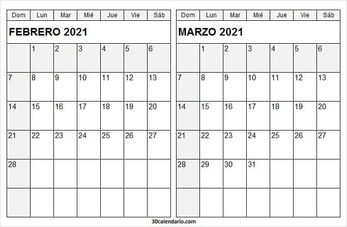 Imagen Calendario Mes De Febrero Marzo 2021