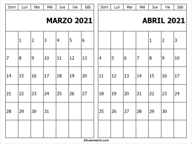 Marzo Abril 2021 Calendario En Blanco