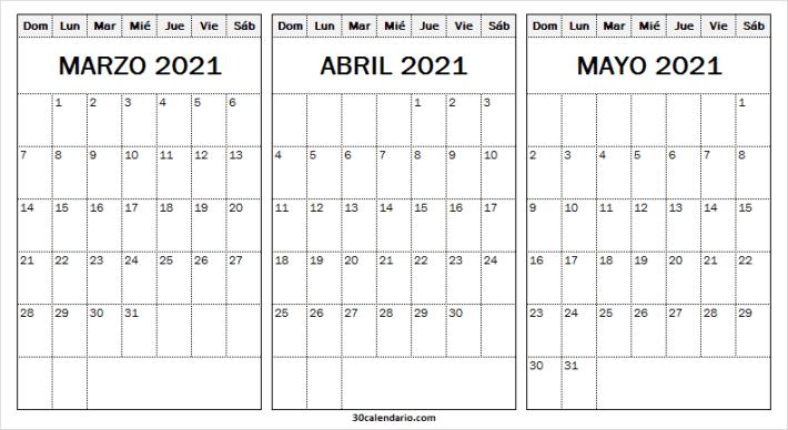 Marzo a Mayo Calendario 2021