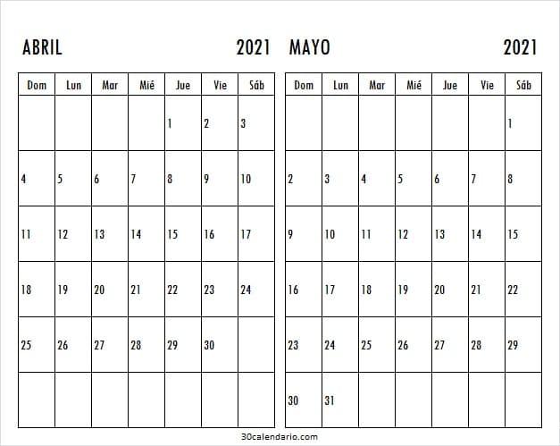 Mes De Abril Mayo Calendario 2021