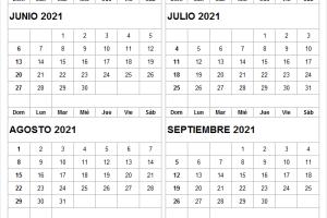 Mes De Junio a Septiembre Calendario 2021
