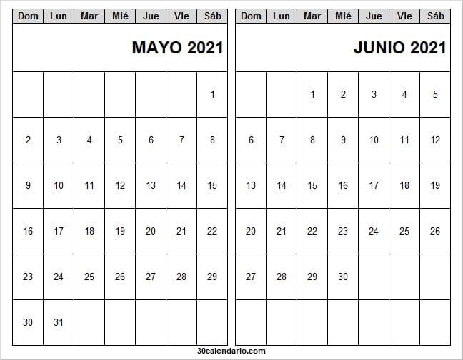 Mes De Mayo Junio Calendario 2021