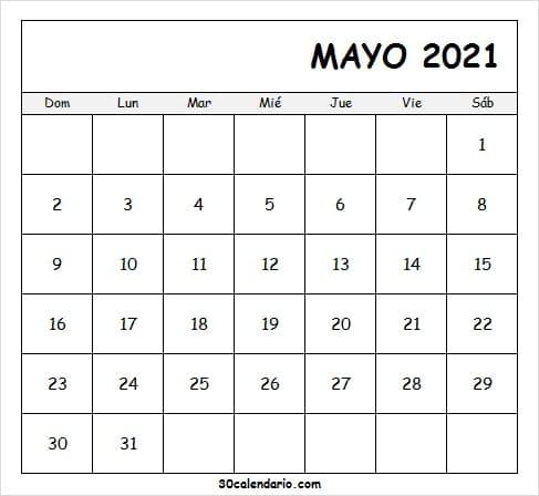 Plantilla Calendario Mayo 2021