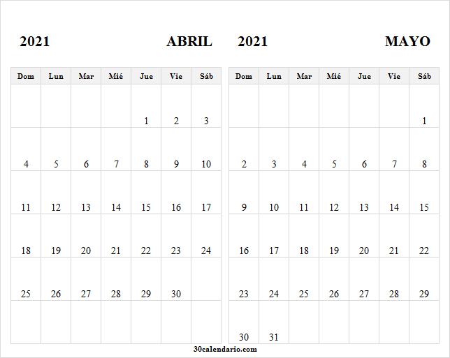 Plantilla Calendario Mes Abril Mayo 2021