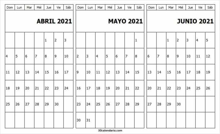 Plantilla Calendario Mes Abril a Junio 2021