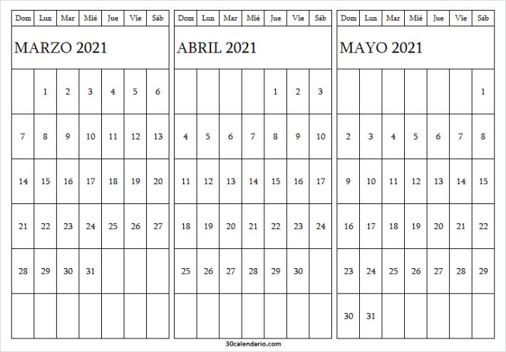 Ver Calendario Marzo a Mayo 2021