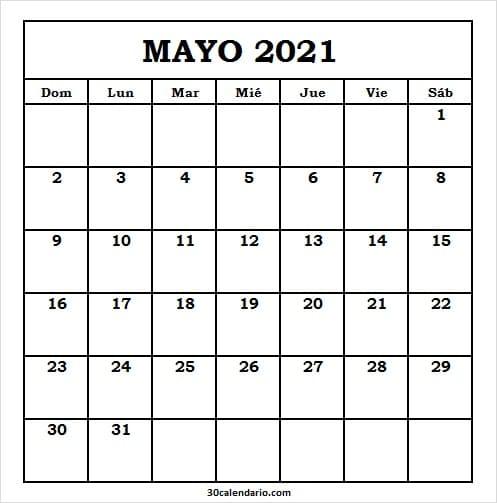 Ver Calendario Mayo 2021