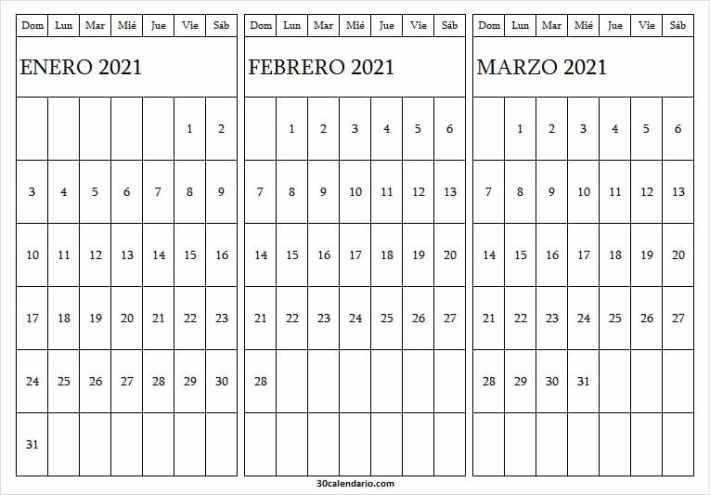 Calendario De Enero A Marzo De 2021 Para Imprimir