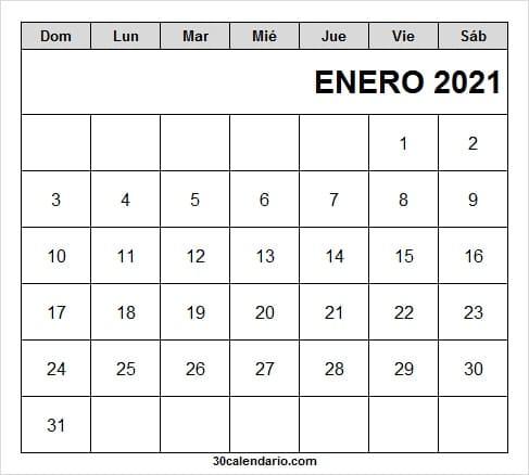 Calendario Enero 2021 Para Imprimir Con Feriados