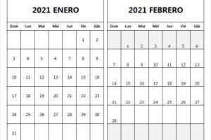 Calendario Enero Febrero 2021 Colombia