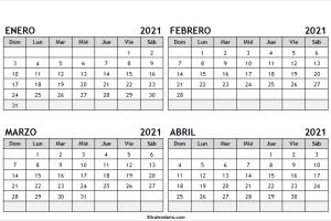 Calendario Enero a Abril 2021 Blanco