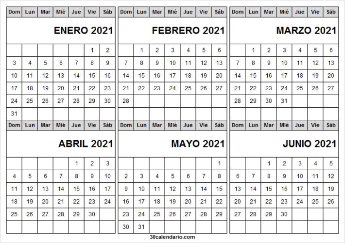 Calendario Enero a Junio 2021