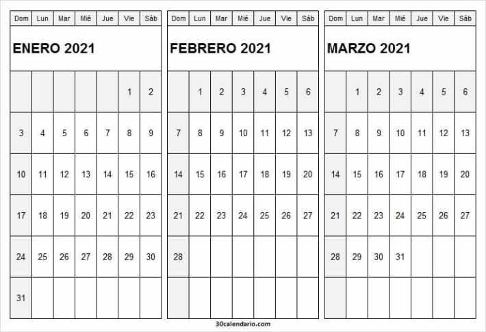 Calendario Enero a Marzo 2021 Colombia