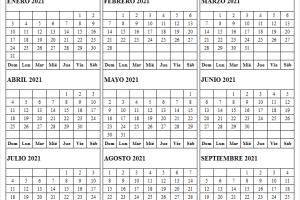 Calendario Enero a Septiembre 2021