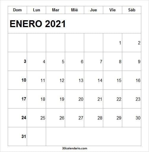 Calendario Mes Enero 2021 Venezuela