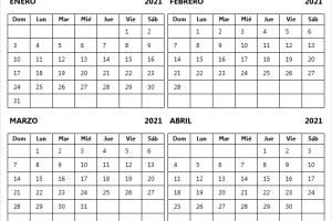 Calendario Mes Enero A Abril 2021 Con Festivos