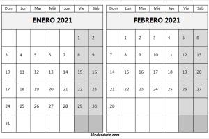 Enero Febrero 2021 Calendario