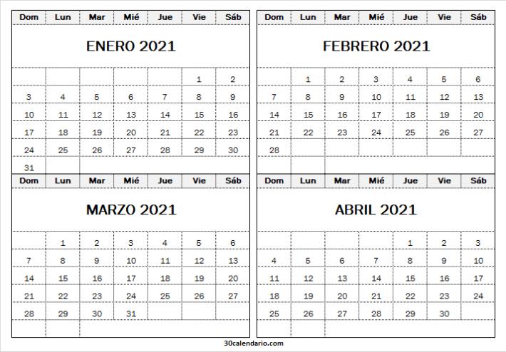 Enero a Abril Calendario 2021