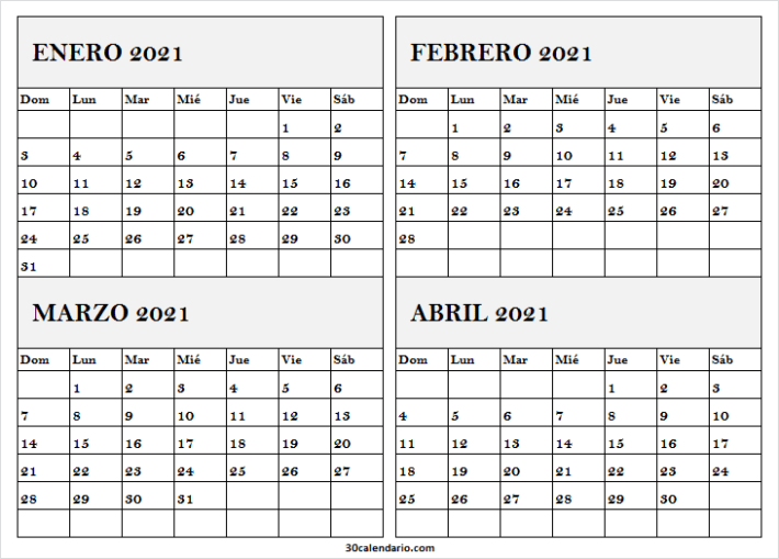 Imprimir Calendario Mes Enero a Abril 2021