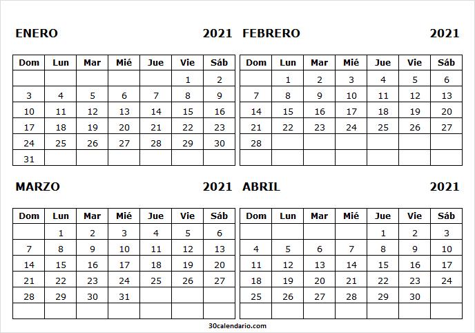 Mes De Enero a Abril Calendario 2021