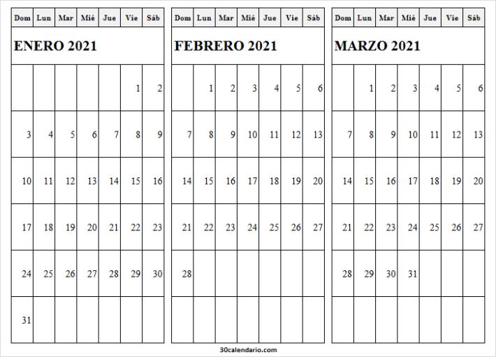 Ver Calendario Enero a Marzo 2021