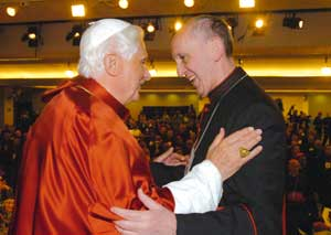 Benedict XVI with Cardinal Jorge Mario Bergoglio during the fifth General Conference of the Latin American and Caribbean bishops, at the sanctuary of Nossa Senhora da Conceição Aparecida in Brazil, 13 May 2007
