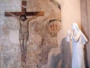 L'oratorio del Crocifisso nel monastero di Santa Rita a Cascia: qui Gesù donò a Rita sulla fronte una spina della Sua corona