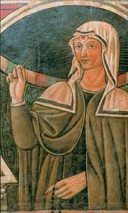"""L'immagine di santa Rita con la spina donatale da Gesù, particolare del dipinto del sarcofago, conservato nella sua cella, contenente la """"cassa solenne"""" in cui fu deposto il corpo della santa"""