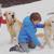 Iris et Iago avec Martin et Rose dans la neige, sur un volcan au Chili.