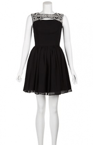 Black Embellished Neck Keyhole Sleeveless Skater Dress £34.99