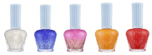 (l-r) Nail Enamels - Lily (036), Hyacinth (037), Petunia (038), Buttercup (039) and Carnation (040)