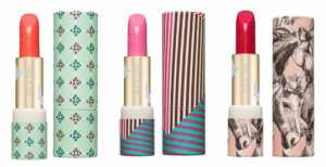 (L-r) Lipstick shades - Poppy (084), Poeny (085) and Rosebud (086)  Cases - 012 Mint, 013 Retro and 086 Horses