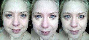 Maybelline The Eraser Eye Treatment and Concealer in light (Left to Right) - 1. No product, 2. Product applied unblended 3. Blended
