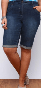 Yours Clothing Indigo Blue Denim Shorts With Pink Stitch Detail £25.00